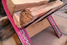 03 a firewood stand made of new and colorful skis is a cool piece to place next to your fireplace