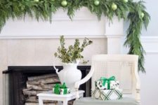 evergreen christmas mantel decor