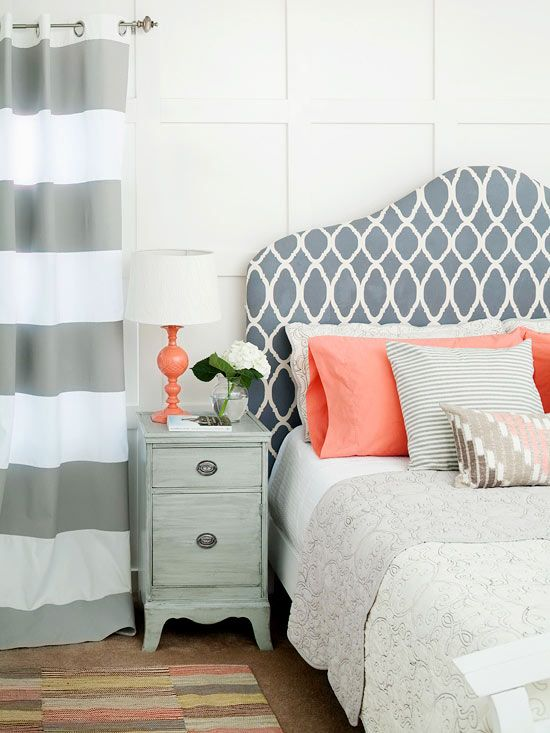 a couple of coral pillows and a coral lamp will refresh your bedroom giving it a bit of edge