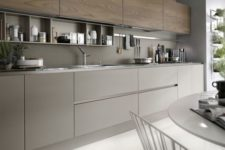 kitchen with lacquer and wood cabinets