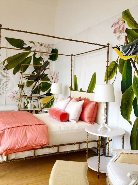 a touch of coral will always be to the point ina  tropical bedroom like this one