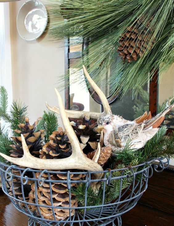 a wire basket with evergreens, antlers, birch bark and large pinecones for a modern yet rustic feel