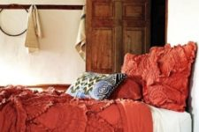 09 ruffled coral bedding is great for a boho chic bedroom and looks unusual