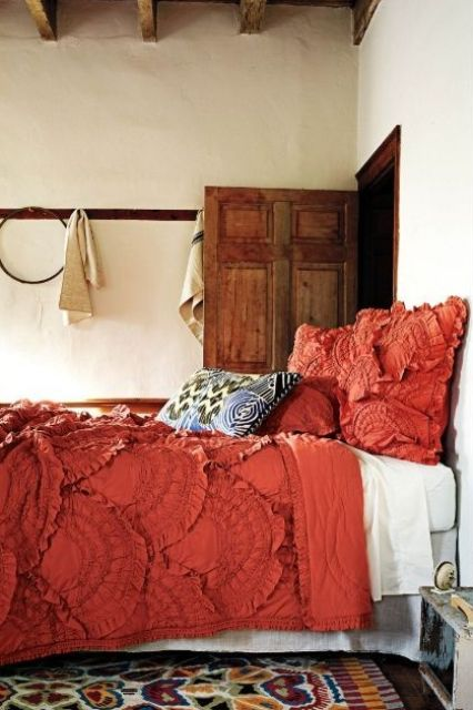 ruffled coral bedding is great for a boho chic bedroom and looks unusual