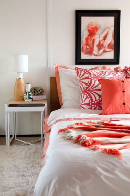 refresh your bedroom with bold printed coral linens and make it cheerful, welcoming and fashionable
