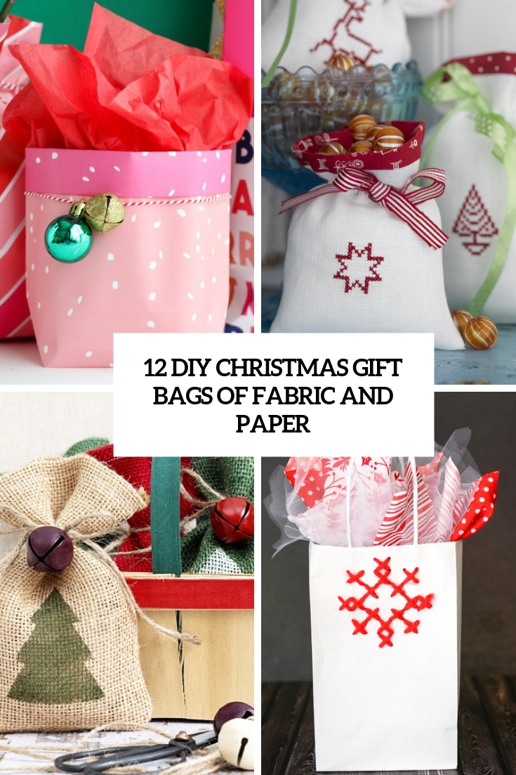 diy christmas gift bags of fabric and paper cover