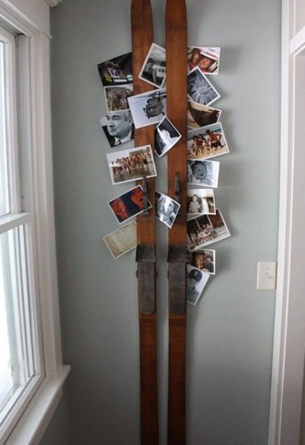 use vintage skis to show off your family pics, such a piece won't take much space