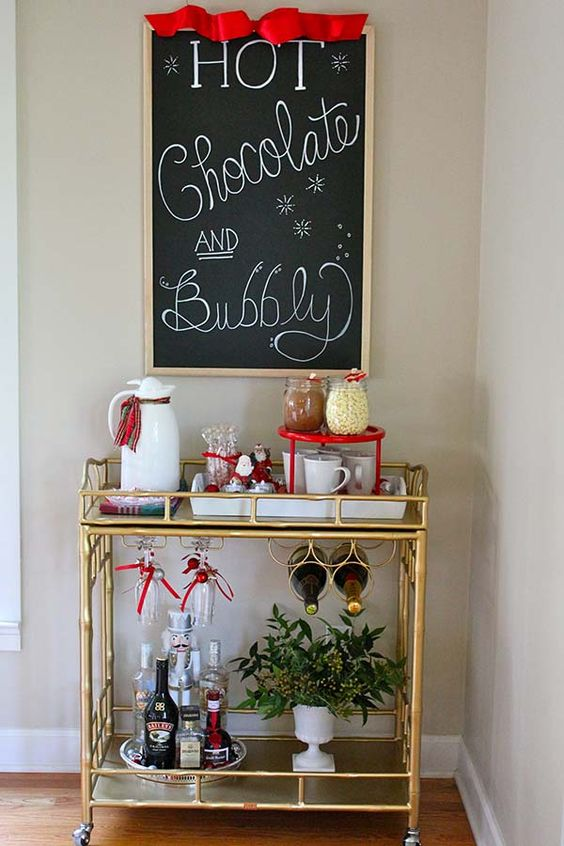 a stylish and practical idea is a hot chocolate and bubbly bar at the same time, it will fit anyone