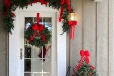 evergreen decor for a front door