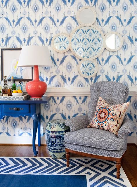 refresh your blue room with a touch of coral to give your beachside space an ultra-modern look