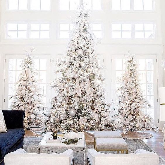 a trio of snowy Christmas trees decorated with white and metallic ornaments and with ribbons