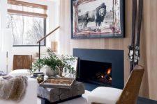 cozy area design near a fireplace