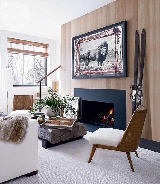 cozy area design near a fireplace