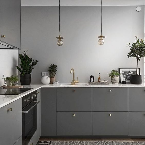 a stylish contemporary kitchen in graphite grey cabinets, grey walls and stainless steel appliances