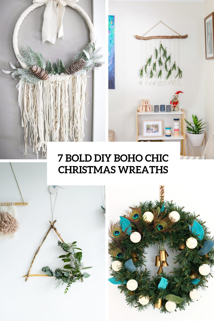 7 Bold DIY Boho Chic Christmas Wreaths