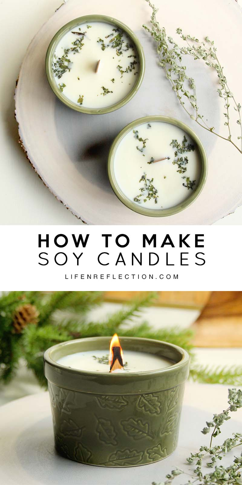 DIY blue spruce scented Christmas candles