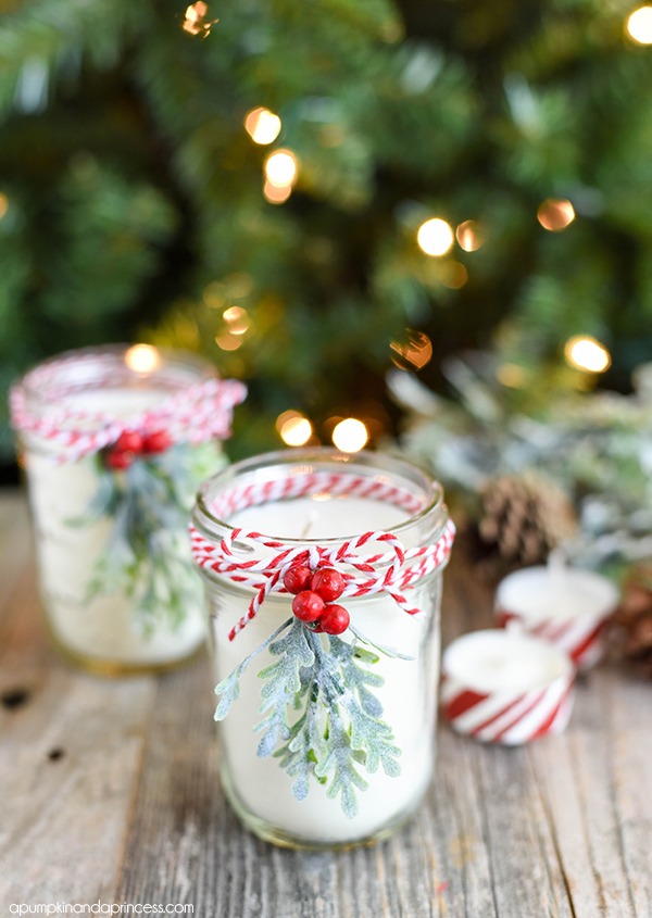 DIY peppermint essential oil jar candles for Christmas (via apumpkinandaprincess.com)