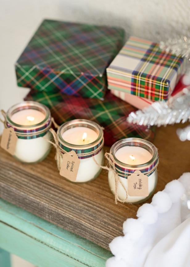 DIY Christmas scented candles with soft fragrances  (via www.hgtv.com)