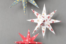 DIY colorful 3D paper star Christmas ornaments