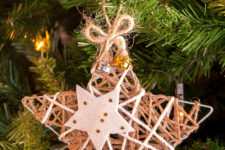 DIY glittered twine star Christmas ornaments with fabric stars