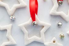 DIY salt dough star Christmas ornaments with jingle bells