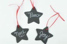 DIY chalkboard star Christmas ornaments of polymer clay