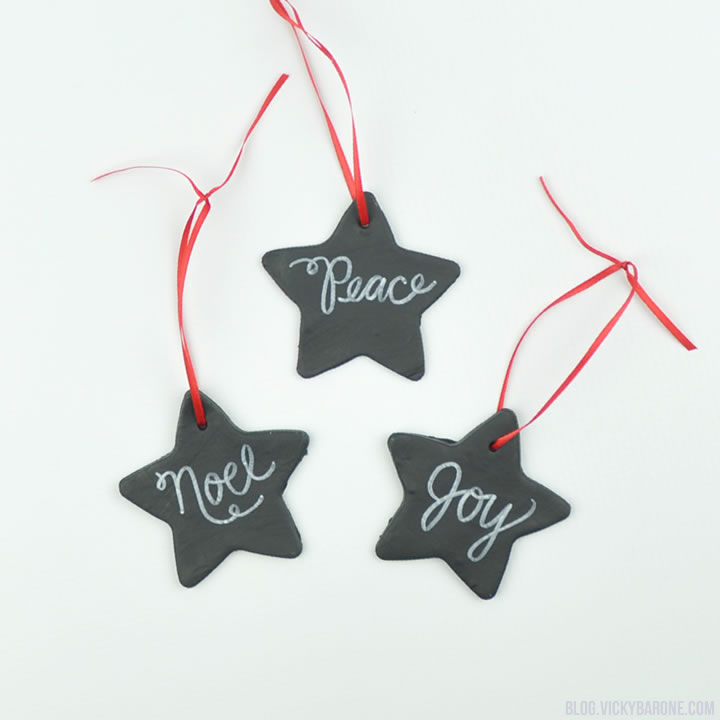 DIY chalkboard star Christmas ornaments of polymer clay (via blog.vickybarone.com)