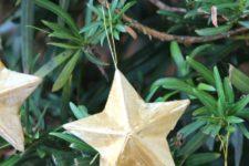 DIY vintage paper mache star Christmas ornaments