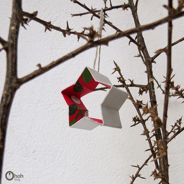 DIY recycled Christmas star ornaments of Tetrapaks (via www.ohohdeco.com)