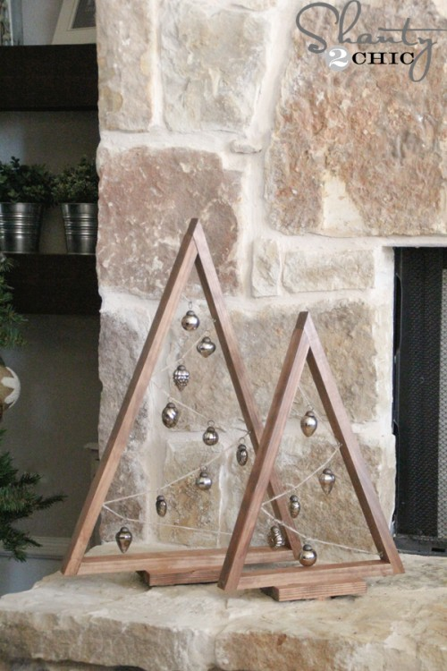 DIY rustic vintage A-framed Christmas tree with vintage ornaments (via www.shanty-2-chic.com)