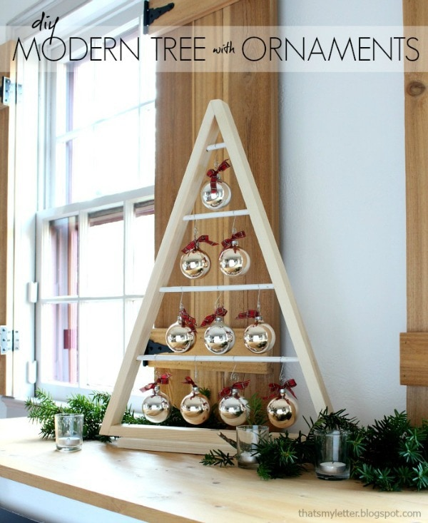 DIY A-framed Christmas tree with ornaments hanging (via jaimecostiglio.com)