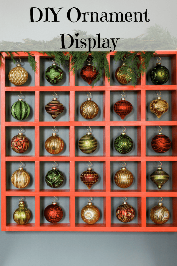 DIY large Christmas ornament display with lots of ornaments