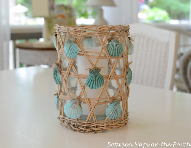 DIY jute and decorative seashell candle holder (via betweennapsontheporch.net)