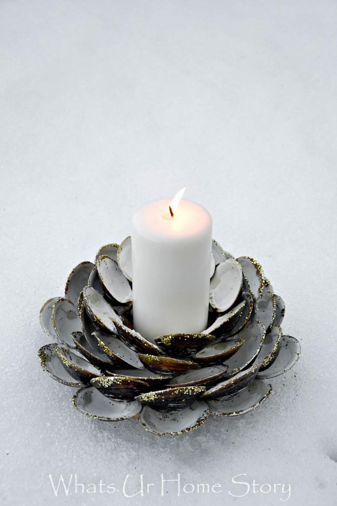 DIY glitter seashell Christmas candle holder