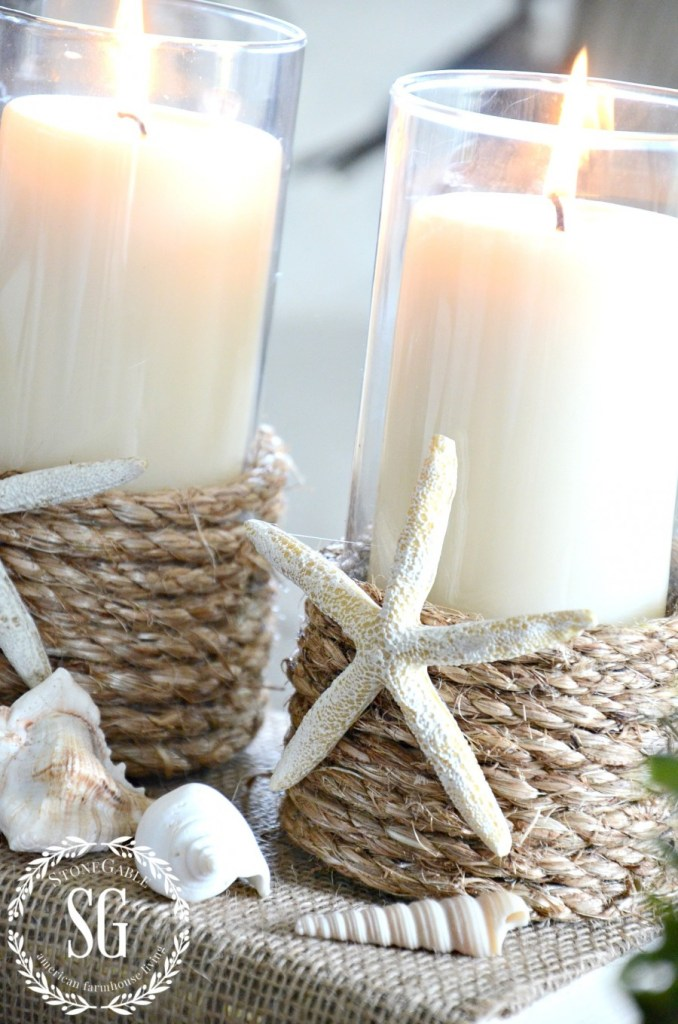 DIY rope wrapped candle holders with star fish (via www.stonegableblog.com)