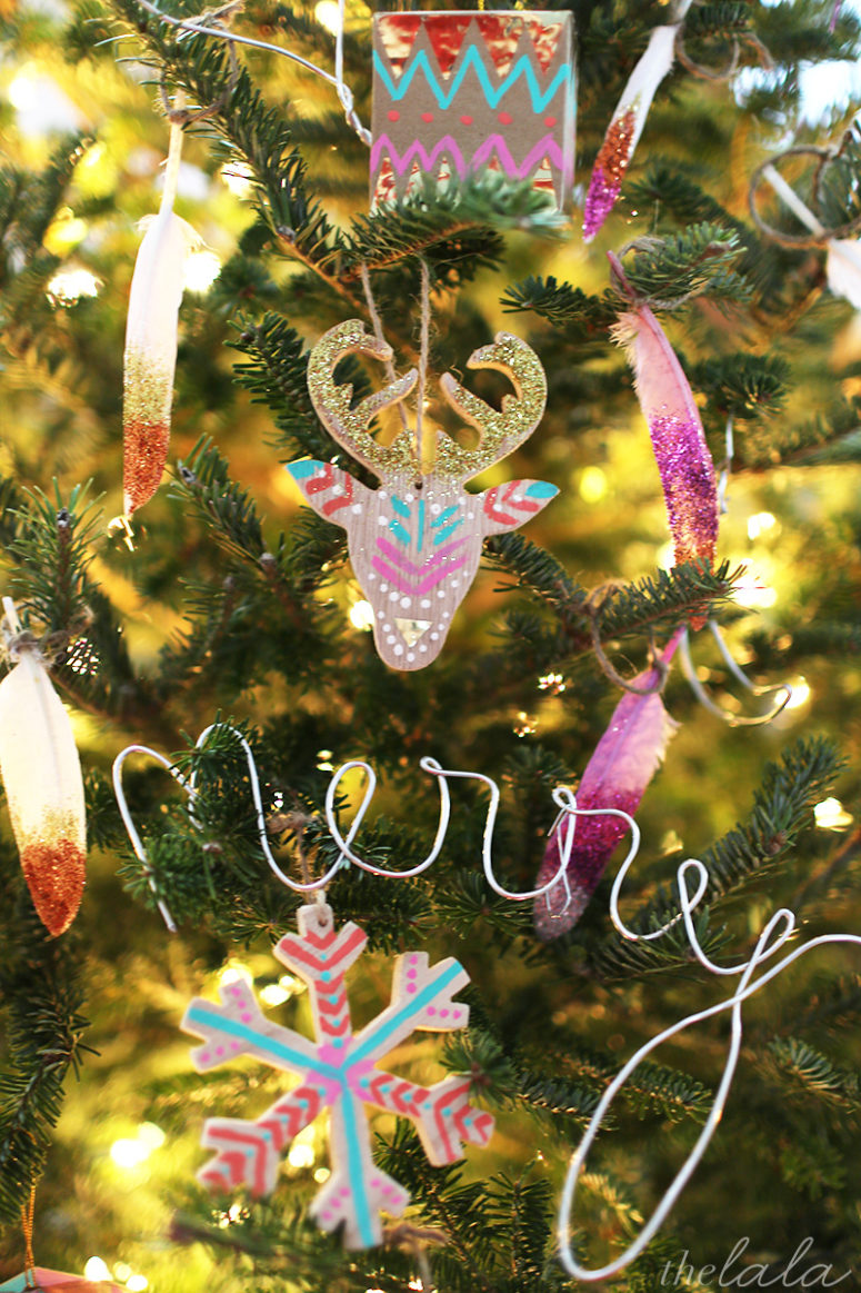 DIY hand-painted boho chic Christmas ornaments in bold colors (via thelala.com)