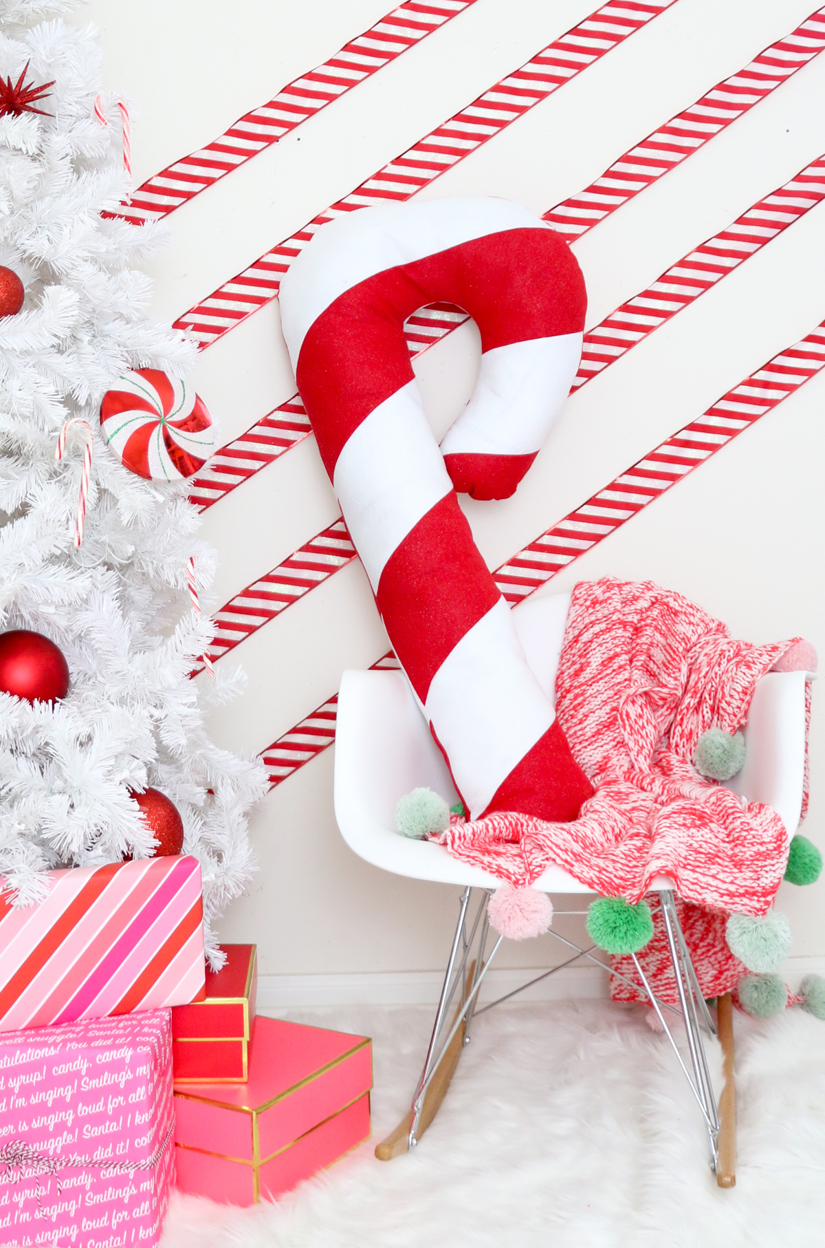 DIY candy cane Christmas pillow in red and white