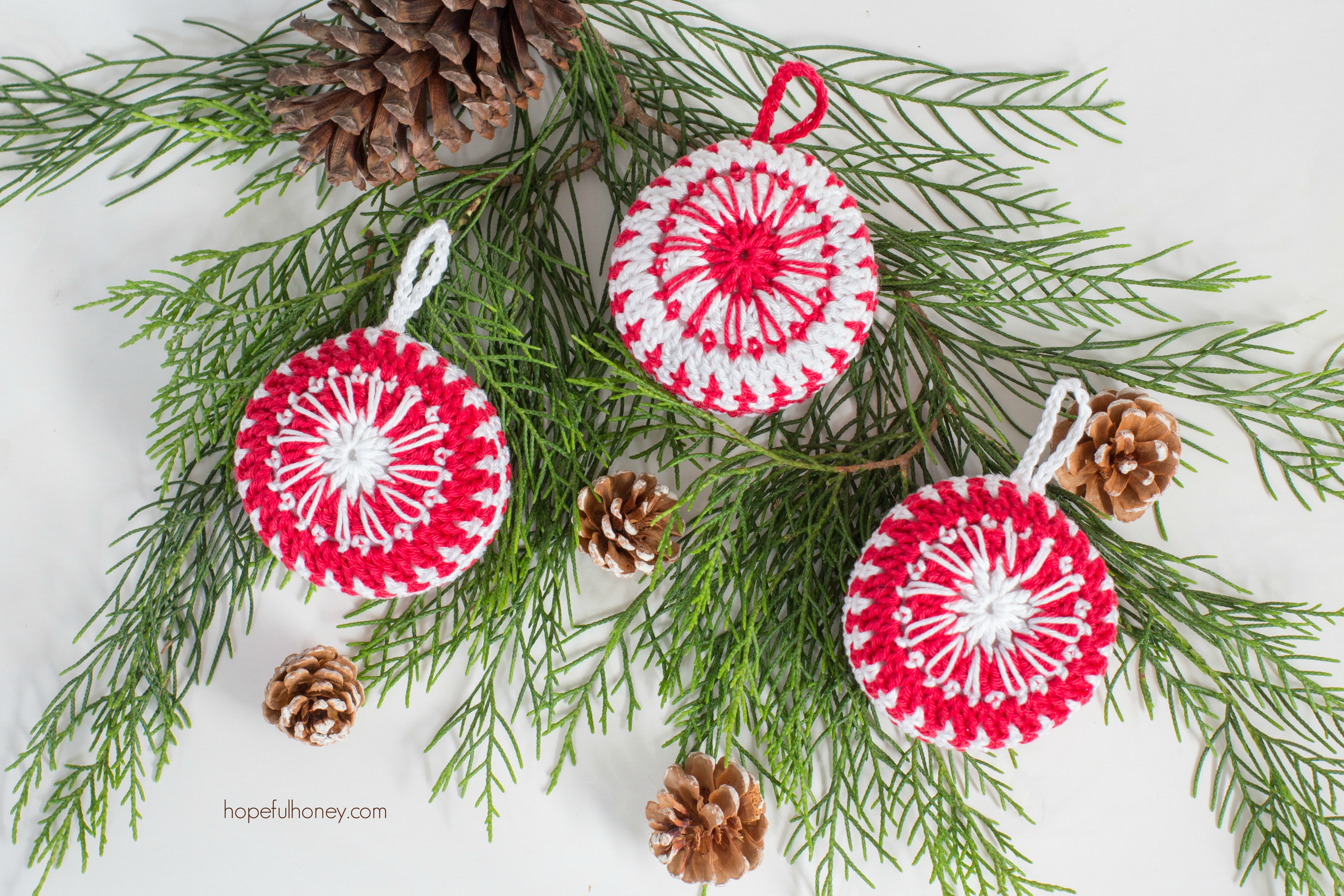 DIY crochet candy cane inspired Christmas ornaments