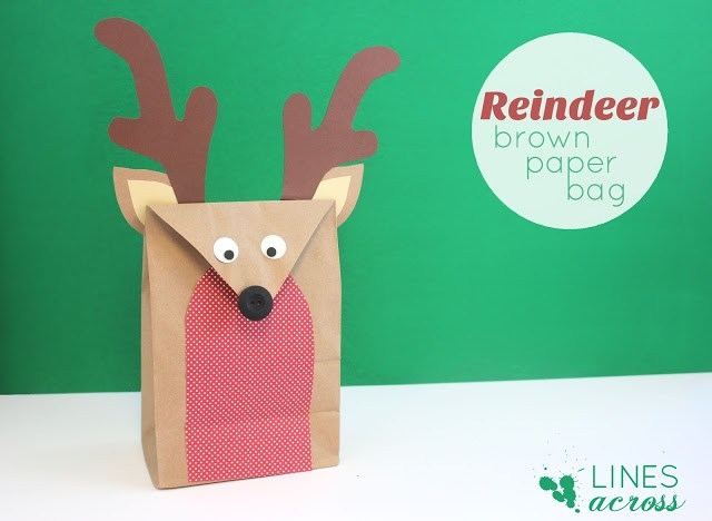 DIY fun and whimsy reindeer paper bag for Christmas (via www.linesacross.com)