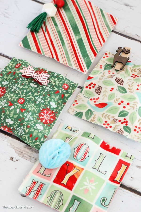 DIY no sew colorful fabric gift bags for Christmas (via www.purelykatie.com)