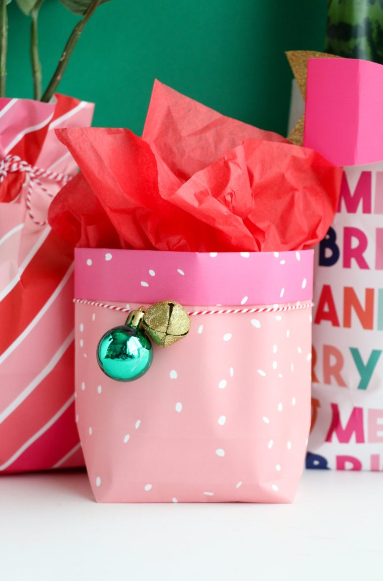 DIY colorful wrapping paper gift bags for Christmas (via abeautifulmess.com)
