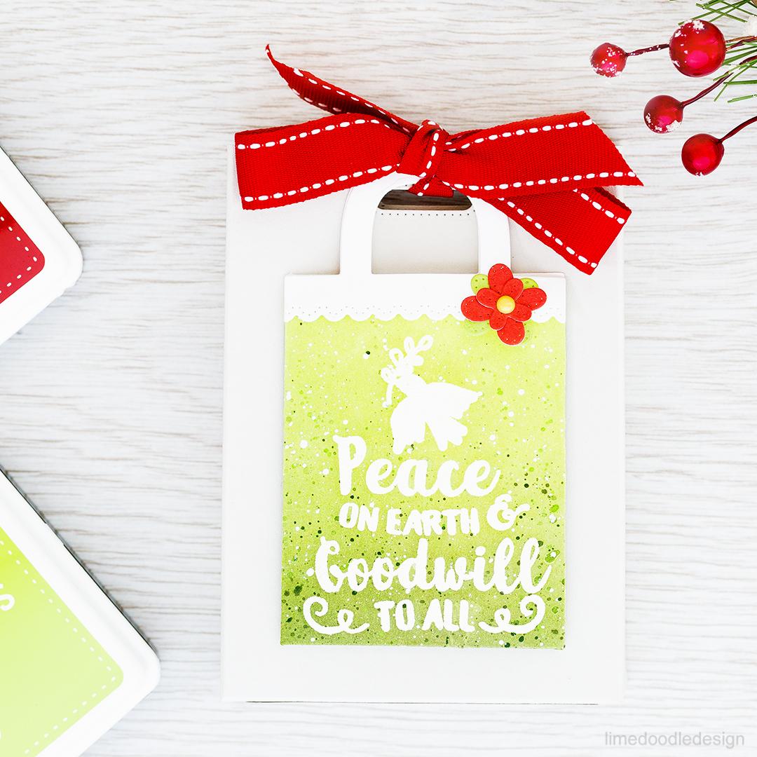 DIY gift bag with a card pocket for Christmas