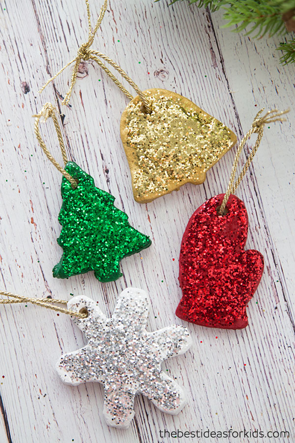 DIY glitter salt dough Christmas ornaments (via www.thebestideasforkids.com)