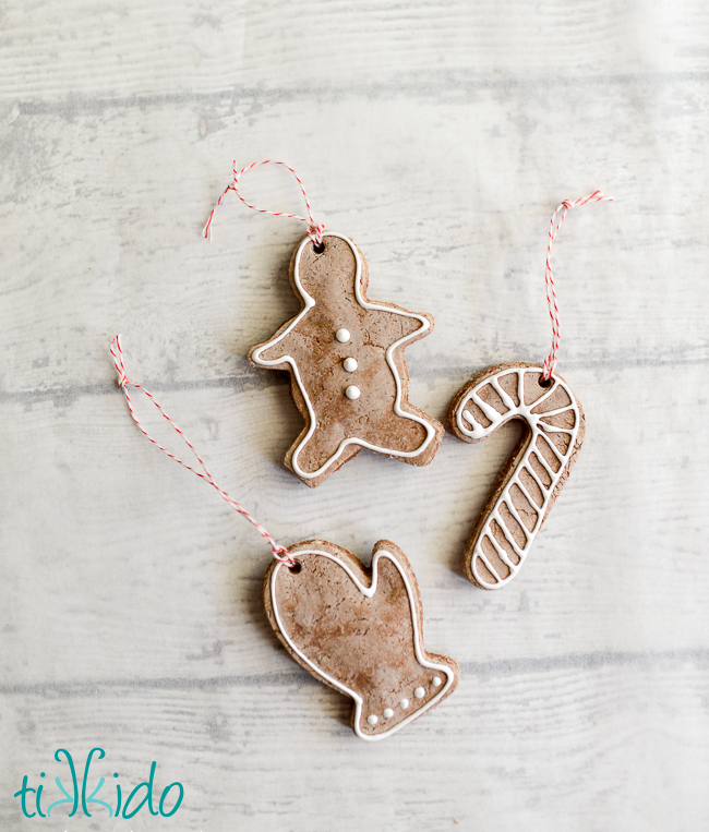 DIY gingerbread salt dough Christmas ornaments (via tikkido.com)