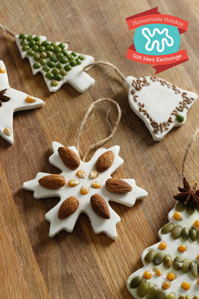 DIY salt dough Christmas ornaments with natural element decor