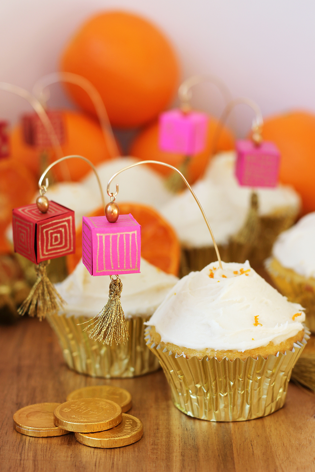 DIY Chinese lantern colorful cupcake toppers