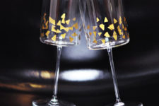 DIY festive stemware with gold confetti decor