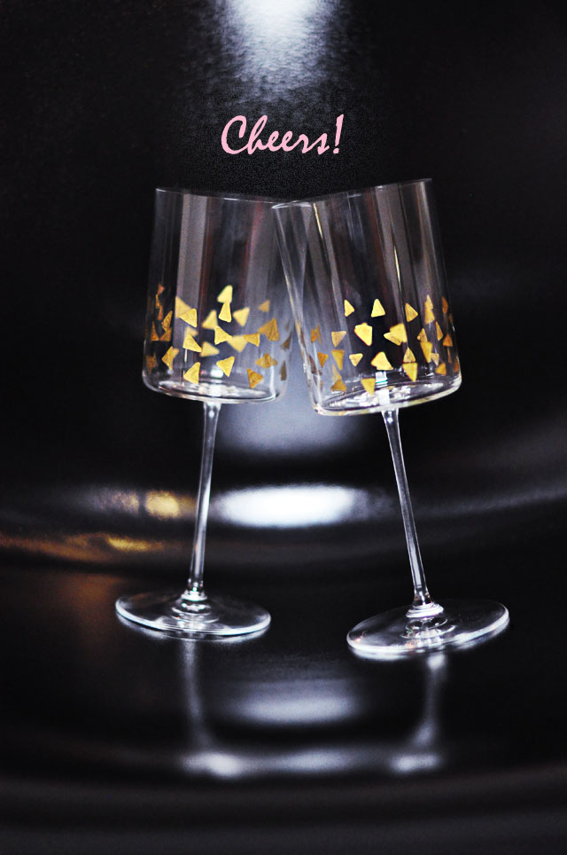 DIY festive stemware with gold confetti decor (via www.lovemaegan.com)