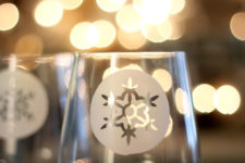 DIY etched snowflake flutes for winter parties