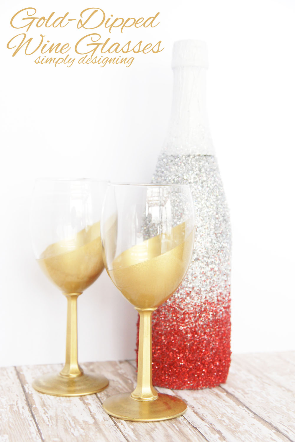 DIY gold dipped wine glasses for glam parties